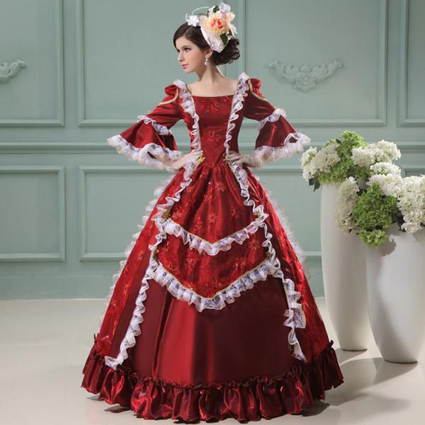 Venta caliente 2016 Wine Red Floral Impreso Marie Antonieta Lace Princess Dress Costumes Renacimiento Corte Vestido para Las Mujeres