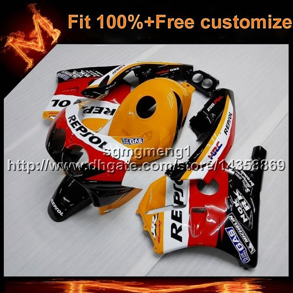 23colors+8Gifts Injection mold repsol blue motorcycle cowl for HONDA CBR250RR MC22 1990-1999 90 99 Bodywork Set ABS Plastic Fairing
