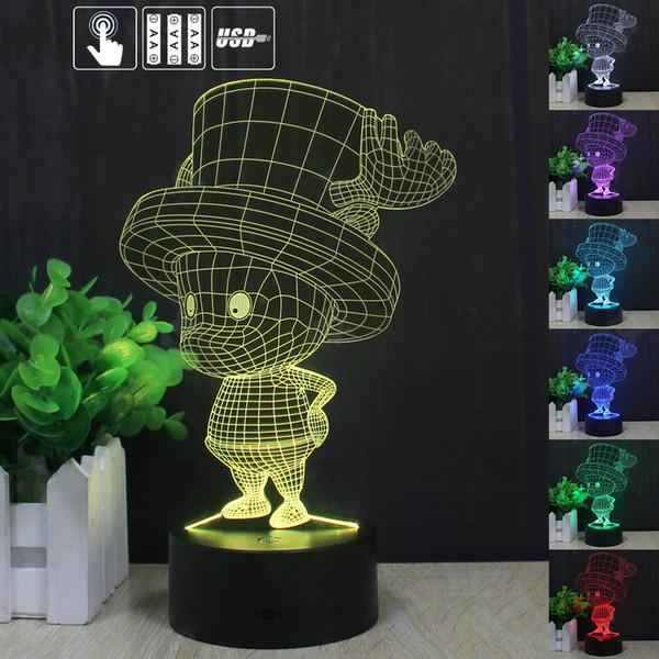 Chobar 3D LED Lampe Licht USB Bunte 7 Farbwechsel Nachtlicht für Hochzeit Deco Innovatives Geschenk Present Touch Lampe