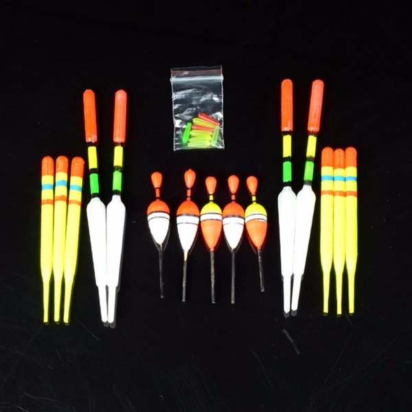 Wholesale- DSstyles 15pcs/set vertical buoy sea Fishing floats Assorted size most type of angling attachment rubbers fishing lures Tackle