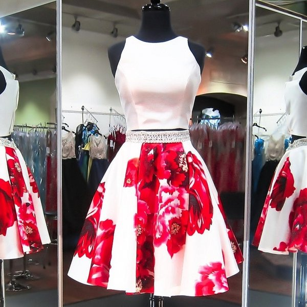 2 Pieces Short Prom Dresses Beaded Little White A Line Skirt with Red Floral Print Satin Formal Homecoming Party Cocktail Gowns Cheap New