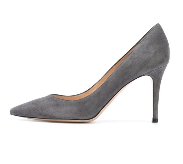 Zandina Handmade Fashion 8cm High Heel Pumps Simple Style Slip-on Pointy Party Evening Wedding Stiletto Shoes Gray
