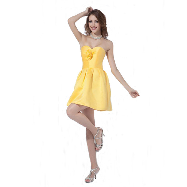 Formal Style Sweetheart Yellow Satin Bridesmaid Dress Above Knee Length Ladies Party Dress With Handmade Flower