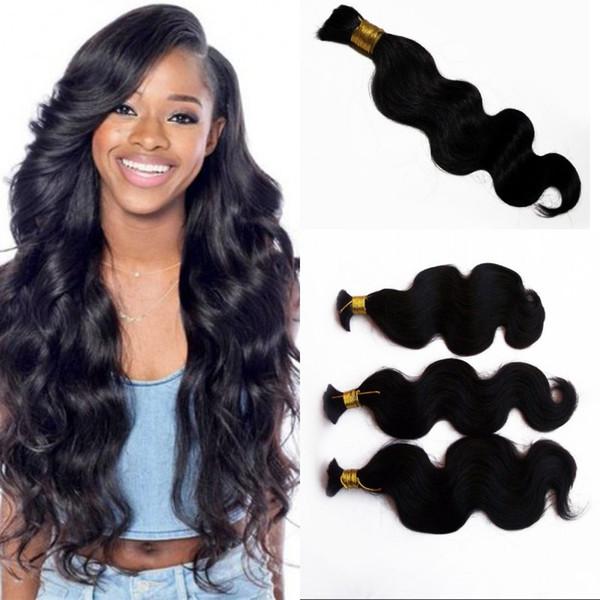 Peruvian Human Hair Body Wave Hair Bulk No Attachment 3 Bundles Natural Color Hair Bulk for Braiding FDSHINE