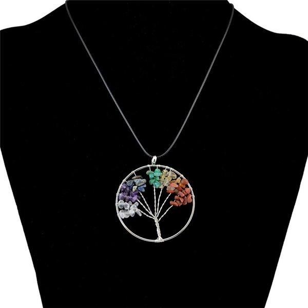7 colors Tree of Life Healing Crystal Wire Wrap Natural Gemstone Pendant Necklace for birthday gift wholsale