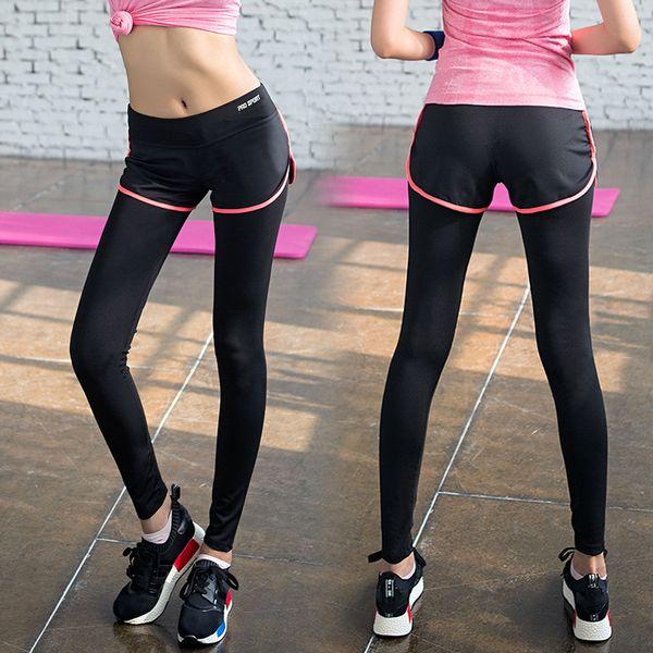 2017 Yel False Two Piece Legging Hot Women Gym Long Yoga Pants ...
