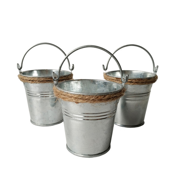 D7*H7CM Party Favor Metal mini Pail Tin candy bucket Rustic Decorative Galvanized samll bucket party pail