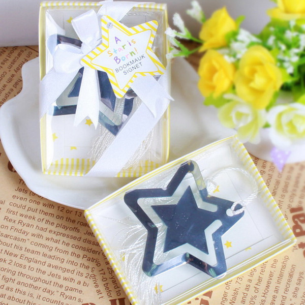 Hollowed Star Bookmark With White Tassel For Baby Shower Christening Wedding Favor Home Party Favor Gift Box DHL Free Shipping