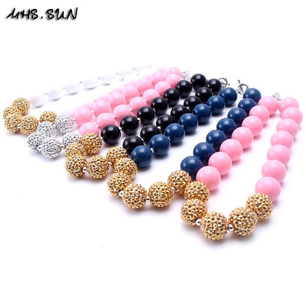 MHS.SUN Newest Solid Color Design 2PCS Necklace Birthday Party Gift For Toddlers Girls Beaded Bubblegum Baby Kids Chunky Necklace Jewelry