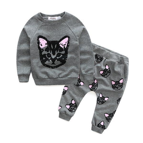 Wholesale- 2016 Hot-selling 2pcs kids baby girl clothes Long Sleeve Cat Printed T-shirt Tops+Pants Sets Outfits Spring Autumn Clothing Set