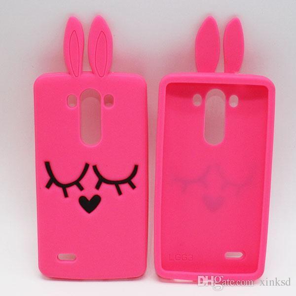 3D Rabbit Soft silicone Case For LG G2 G3 G4 G5 G4 Stylus G Stylo Samsung Galaxy J1 J3 J510 J710 2016 J5 J7 Cartoon Cute Phone Rubber Cover