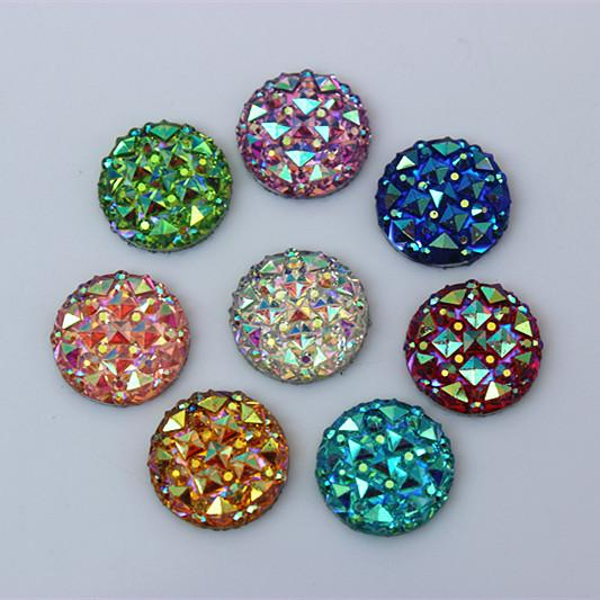 top popular 100PCS 12mm Resin Rhinestones AB Round flatback Rhinestones Beads Scrapbooking crafts Jewelry Accessories ZZ62 2021