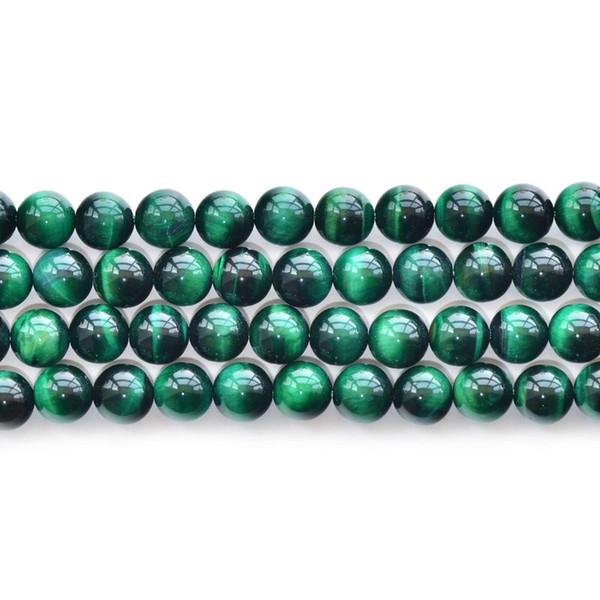 Pierre naturelle de haute qualité pierre verte oeil de tigre ronde Perles en maille lâche 6/8/10 / 12mm fabrication de bijoux Bracelet perles de bricolage