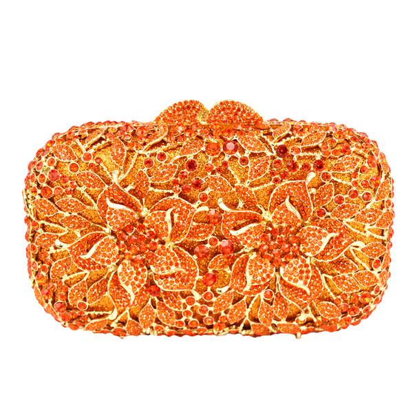 Großhandels-Blumen-Muster-Abend-Beutel-blaue Luxuskristall-orange Abend-Handtaschen-Golddiamant-Partei-Geldbeutel-Silber-Banketttasche 88165