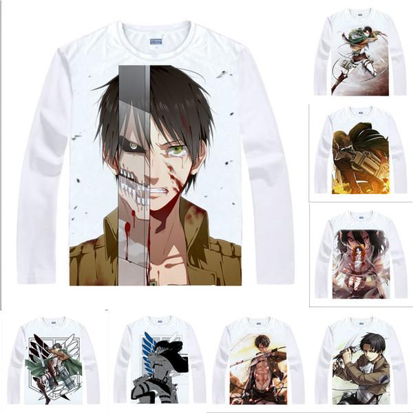 Anime Shirt Attack on Titan T-Shirts Multi-style Long Sleeve Scout Legion Levi Ackerman Cosplay Motivs Kawaii Shirts