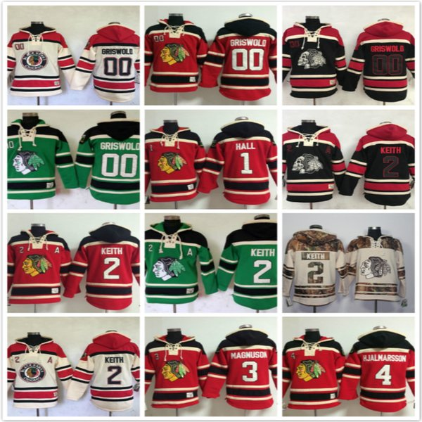 chicago blackhawks hoodies 2 Duncan Keith 00 Clark Griswold Glenn Hall 4 Niklas Hjalmarsson 3 Magnuson Hoody Sweatshirts Red skull black