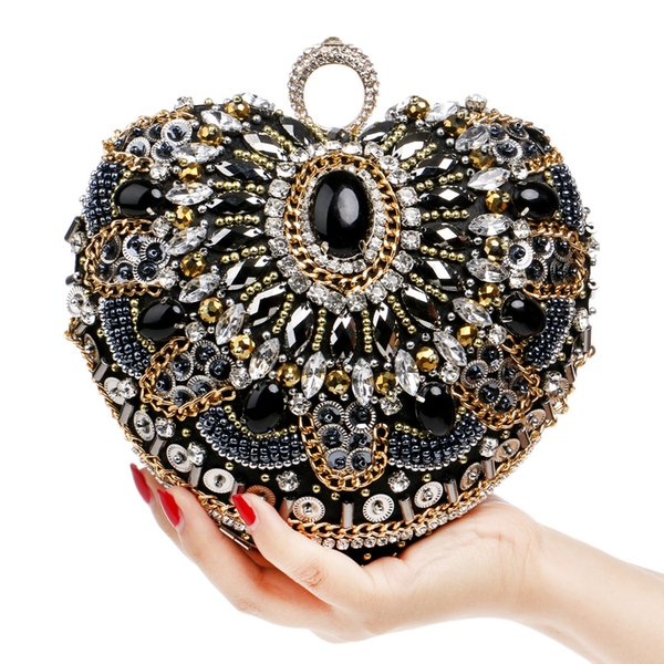 Heart Shaped Evening Bags Finger Ring Clutch Diamonds Purse Beading Clutches Chain Messenger Vintage Beaded Rhinestones Wedding Bag