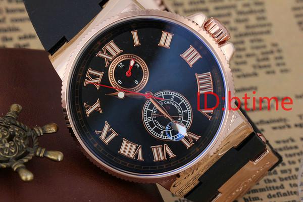 2017 estrenar Gent's Luxury men watch Automatic Mechanical Self Wind Maxi Big Black Blue 44 MM de acero inoxidable de goma de oro Relojes de los hombres