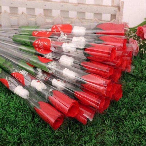 Simulations-Rosen-Blumen-einzelner roter Rosen-Cartoon-Bär mit einem herzförmigen Aufkleber-Valentinstag-Geschenk-Mutter-Tagesgeschenk-Hochzeits-Versorgungen