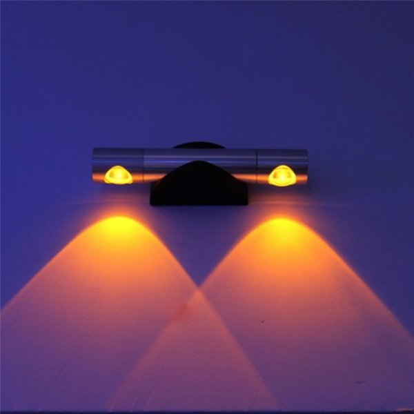 Alta potencia 2W 6W LED lámparas de pared AC90-260V 360 grados de rotación de doble cabeza luces de pared LED proyector para el hogar KTV Bar interior