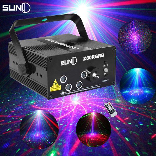 SUNY 5 Lente 80 Padrões RG RB Laser Projetor Luz Vermelho Verde Azul LEVOU Iluminação de Palco DJ Discoteca Bar Show de Festa Em Casa Profissional Luz Do Xmas