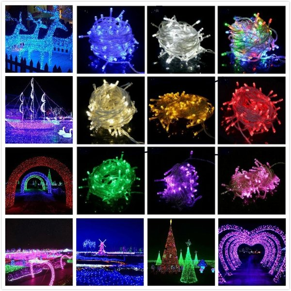 newest outdoor white led string lights 10m 20m 110v 220v 9 colors for clear wire christmas