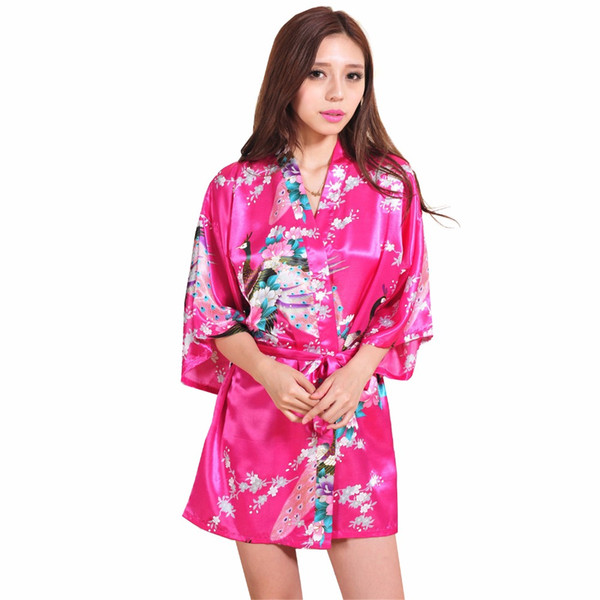 wholesale- pink chinese female silk rayon robe gown mini kimono yukata printed nightgown flower&peacock s m l xl xxl xxxl rb1021