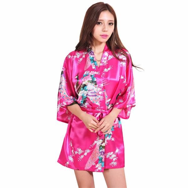 Al por mayor-Hot Pink Chino Femenino Rayón de Seda Vestido de Bata Sexy Mini Kimono Yukata Impreso Camisón FlowerPeacock S M L XL XXL XXXL RB1021