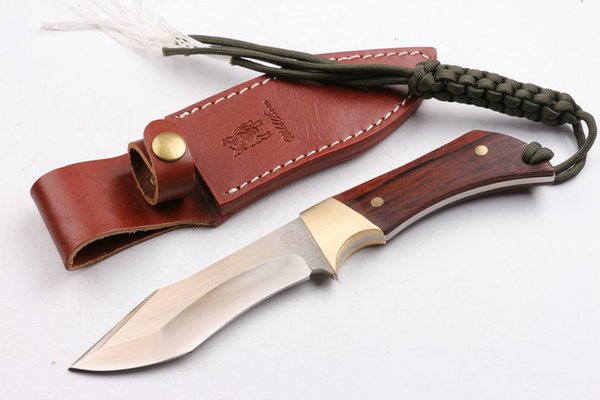 Special Offer Wild Boar D2 steel Fixed blade knife 60HRC Satin finish blade Outdoor camping hiking hunting knifes with leather sheath