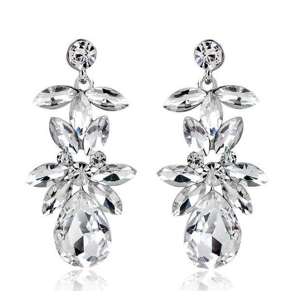 Vintage Earrings Rhinestone Crystal Dangle Earrings Imitation Rhodium Plated Crystal Flower 2017 Fashion Earrings For Women