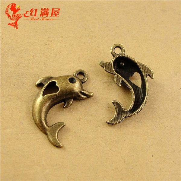 26*17MM Antique Bronze Retro dolphin charm beads manual DIY accessories alloy, animal shaped jewelry, nautical animal pendant