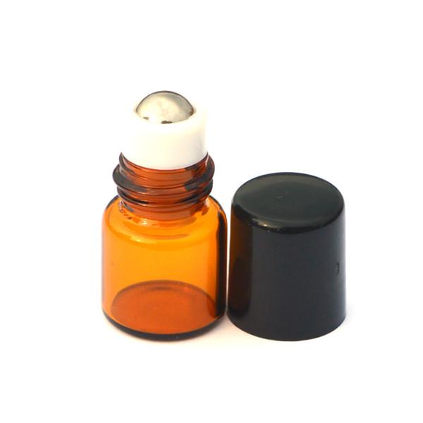 1000pcs Empty Mini 1ml Amber Roll GlassBottle Metal Ball Roller on Essential Oil Perfume Liquid Sample Bottle