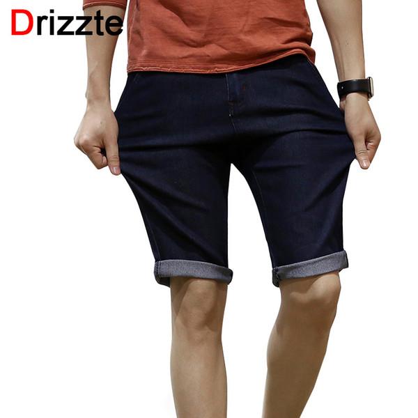 Wholesale- Drizzte Mens Stretch Jeans Shorts Black Blue Denim Jeans Short for Men Summer Size 32 33 34 36