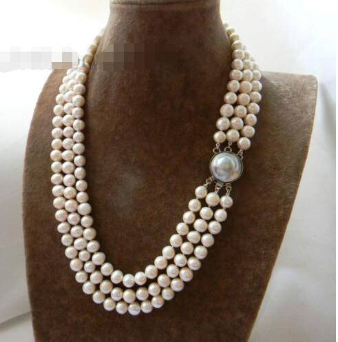 3Strands 21'' 9mm White Round Freshwater Pearl Mabe clasp Necklace