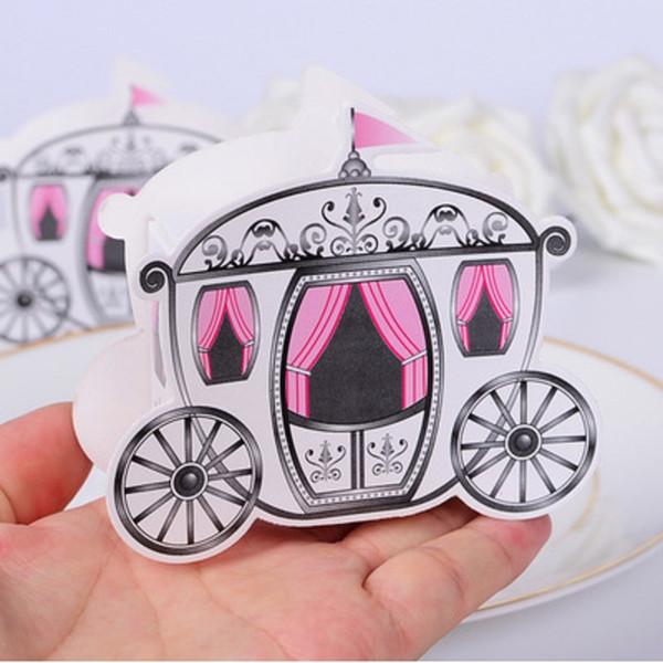 Al por mayor-100pcs / lot romántico cuento de hadas favores regalos Baby Shower boda caja de dulces Cenicienta calabaza carro de la boda decoración de la boda