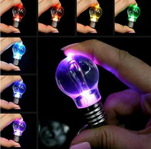 outdoor camping Colorful changed LED bulb key chains key Holder flashlight beads keyring lovers bulb key finder chain