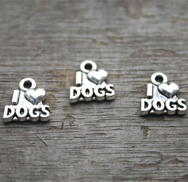 30pcs - I Love My Dog Charms, pendentifs breloque en argent tibétain antique Love My Dog 12x13mm qaq