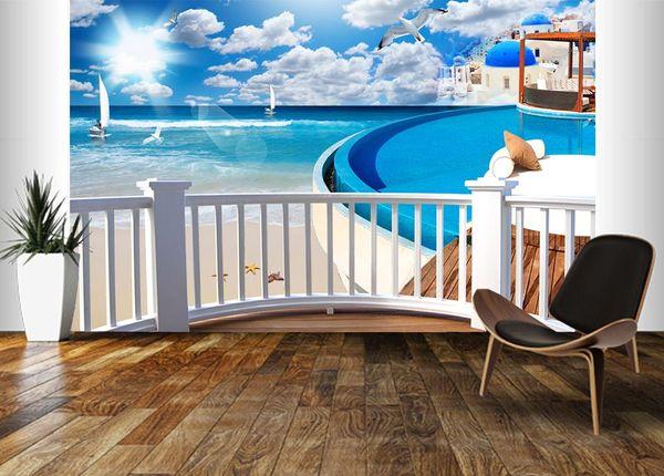 Home Decor Custom Wall Mural Wallpaper Creative Art Wall Painting Living Room Bedroom TV Background Photo Wallpape Sea view