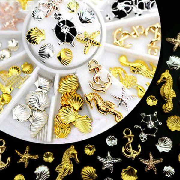 top popular 3D Nail Art Decoration Ocean Alloy Jewelry Glitter Rhinestones 2019