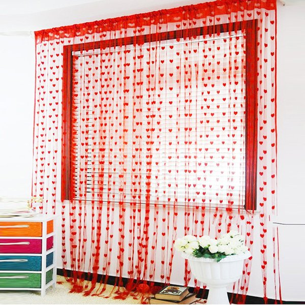 Wedding supplies decoration red pink curtain lace fabric marriage room love shaped line curtain