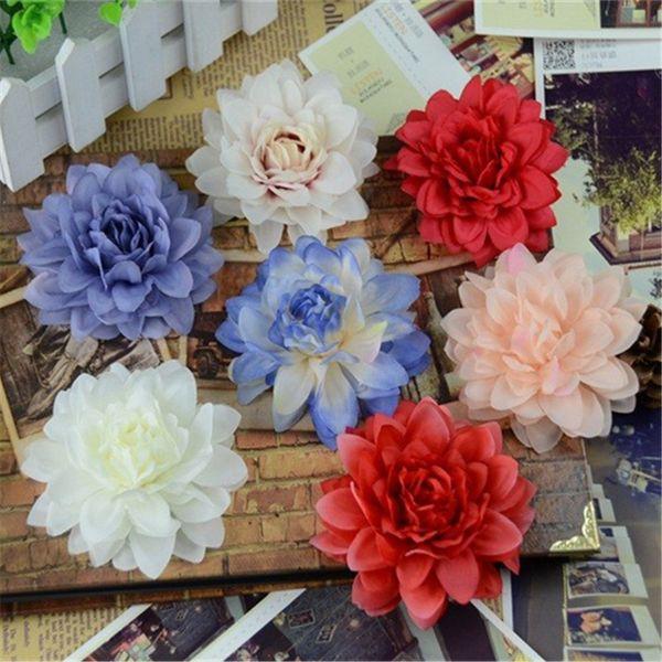 20pcs 9cm Real touch Simulation Big Rose Artificial Flowers DIY Ball Head Brooch Festival Home Wedding Decoration Silk Flower
