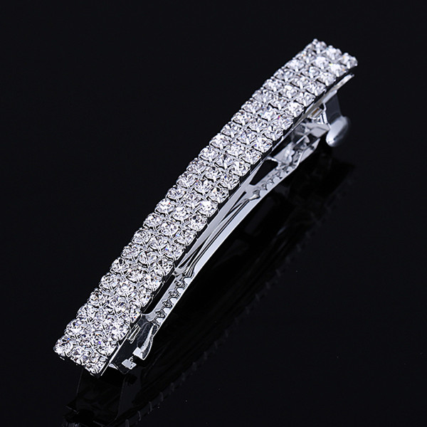 Hot Sale Womens Crystal Rhinestone Hair Barrette Clip Silver Plated Ponytail Holders Hair Pin Hair Jewelry Accessories