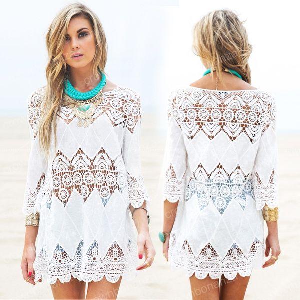 2a45b80e0e New Summer Swimsuit Lace Hollow Crochet Beach Bikini Cover Ups 3/4 Sleeve  Women Tops
