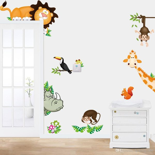 Wall Stickers Lovely Animal Park Giraffe Monkey PVC Water Proof Decal For Kid Room Nursery School Home Decor Removable 6hl J R