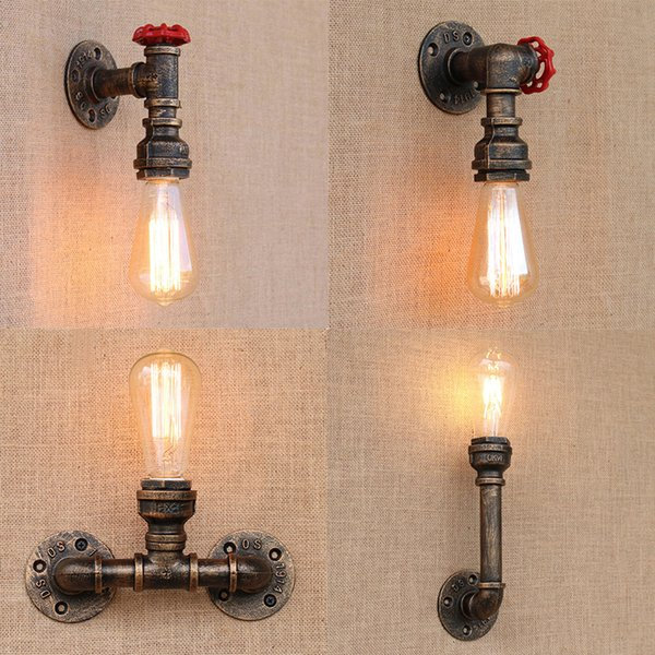 Steam Punk Loft Industrial Iron Rust Water Pipe Retro Wall Lamps Vintage E27 LED Sconce Wall Lights For Living Room Dedroom Bar Shop