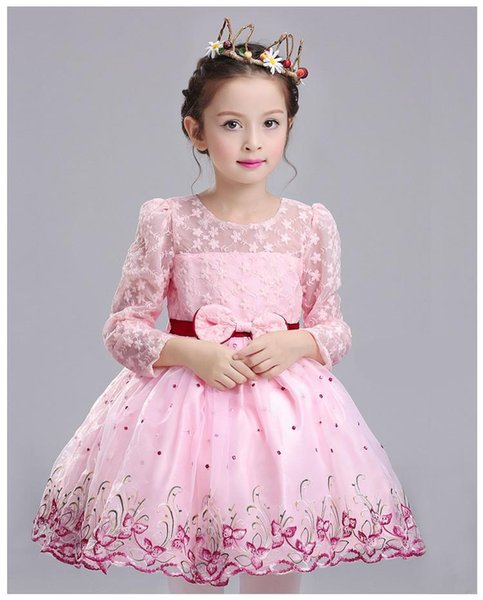 Free Shipping A-line Short/Mini Long Sleeves Boat Neck Pink Flower Girl Dresses for Wedding Brithday Party Dresses with Embroidery/Bow