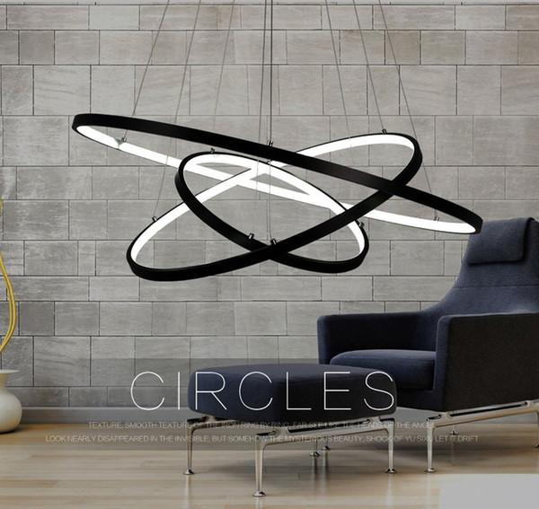 lxledlight Preto Três Anéis (16 - 24 - 32 Polegadas) Modern Pendant Ceiling Luminária de Teto LEVOU Iluminação
