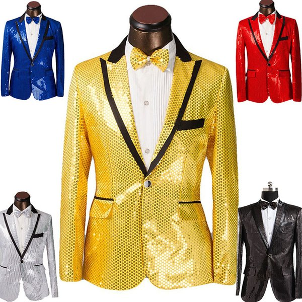 2019 Yeni Sequins erkek gösterisi takım elbise düğün damat sağdıç akşam parti ev sahibi elbise siyah kenar 5 renkler (ceket + kravat)