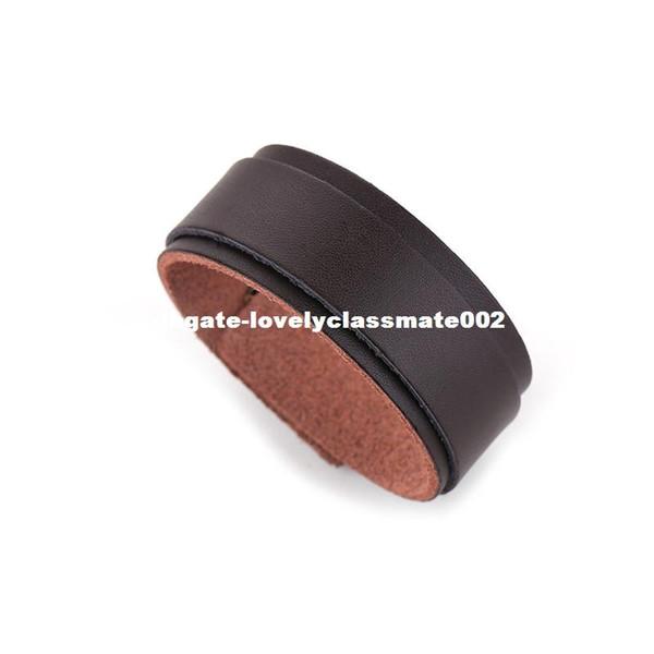 Fashion Simple Black Color Double Wide Leather Bracelet For Man Women Cuff Punk Bracelets & Bangles Charm Jewelry Wholesale