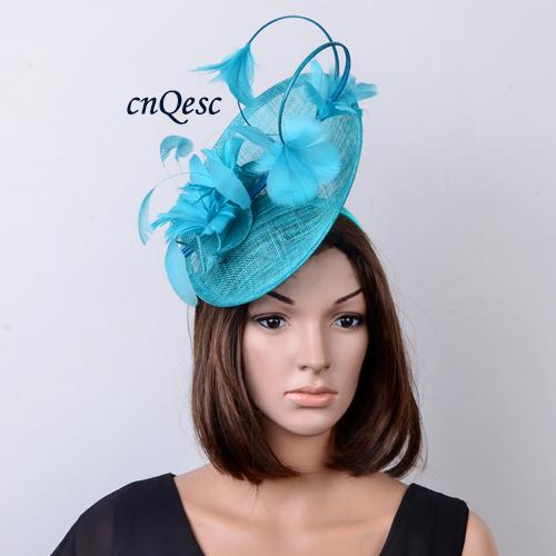 colour Turquoise blue big Arrival. Feather Fascinator sinamay hat for Melbourne cup,Wedding,races.